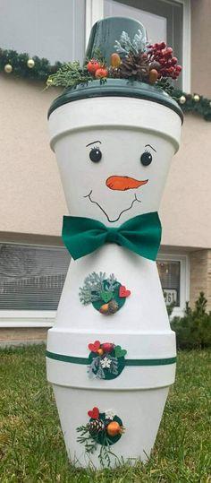 Snowman, Planter Pots, Handmade, Hand Made, Snowmen, Handarbeit