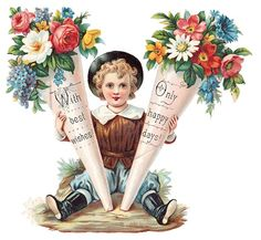Image detail for -free vintage mothers day clipart little Victorian boy with flower ...