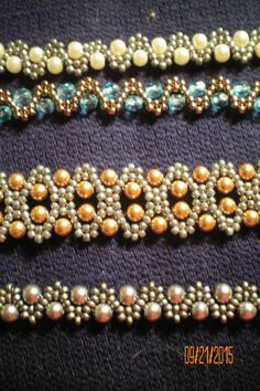My new passion. I love beading. Here are Bobble Bracelets done in Swarovski pearls & Crystals. Pattern by Deb Roberti. Her patterns can be found at Around the Beading table.com