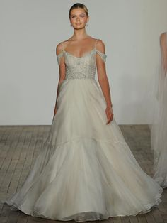 Lazaro Fall 2019 Bridal Collection: Wedding Dress With A Tulle Skirt And Embellished Bodice With Draped Shoulder Details Lazaro Wedding Dress, Sweet Wedding Dresses, Cheap Wedding Dress, Wedding Attire, Bridal Dresses, Wedding Skirt, Tulle Wedding, Wedding Dress Accessories, Bridal Fashion Week