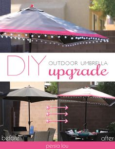 Outdoor Umbrella Upgrade! Give your old umbrella a quick update with spray paint and pom-poms! #lifeneedsmorepompoms