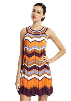 M MISSONI pleated orange/purple multi pleated sleeveless dress