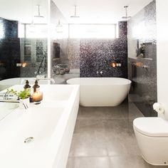 """Darren and Deanne's bathroom screams Glamour, Glamour Glamour! And in Neale's words, this bathroom has 'Oooomph""""! Darren and Dea know how to create a beautiful bathroom and they have delivered another beauty."""