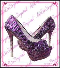 Aidocrystal Purple Luxury Crystal Diamonds Heels Pumps Wedding Shoes  handmade high heels for women f038f15bc6bf