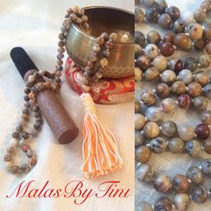 by MalasByTini Emotional Pain, Crazy Lace Agate, Yoga Jewelry, Gemstone Beads, Tassel Necklace, Tassels, Gemstones, Crystals, Handmade