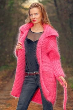Fuzzy pink mohair sweater cardigan SUPERTANYA fuzzy boutique jacket SUPERTANYA #SUPERTANYA #BasicJacket #Casual
