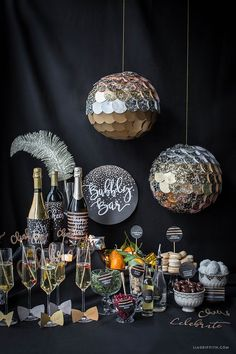 We love these New Years Eve party ideas. What a great idea to set up a bubbly bar at your New Year's cocktail party.