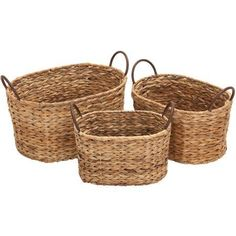Decmode Metal Wicker Basket, Set of 3, Multi Color, Multicolor