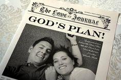 """Love Journal Newspaper Wedding Keepsake - The Newspaper Wedding Keepsake's front page shares """"God's Plan"""", their Love Story ♥ #Newspaper #Wedding #Keepsake #Favor #Favour"""
