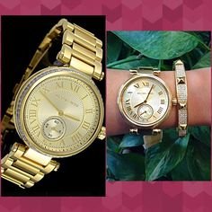 Authentic Michael Kors Crystal Gold Watch  % AUTHENTIC✨ Beautiful gold ladies watch from Michael Kors Stainless steel case & bracelet Fixed gold tone bezel, set with sparkling crystals Gorgeous champagne dial. Scratch resistant mineral crystal. Water resistant at 100 meters✨ Bangle not included. Box & card included STUNNING! NO TRADE  Michael Kors Accessories Watches