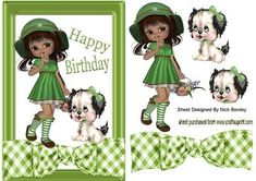 LITTLE GIRL IN GREEN BONNET WITH HER PUPPY on Craftsuprint - Add To Basket!