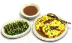China - Egg Foo Young and vegetables by Kiva's Miniatures