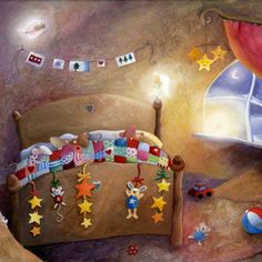 Gail Yerrill - Mice In Bed At Christmas With Angels