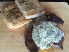 Pesto sauce tenderloin and garlic bread , very tasty and an excellent meal