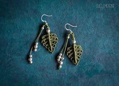 Leaf earrings elf earrings natural pendants boho by OuiClementine