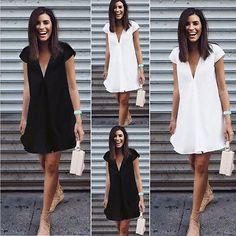 Sexy Women Summer Deep V-Neck  Dresses Casual Plus Size  Short Mini Black Dress New 2016