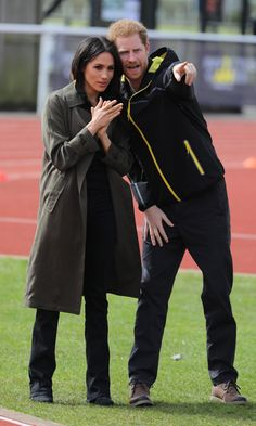 6 April 2018 - Harry and Meghan attend team trials for Invictus Games 2018 at University of Bath Sports Training Village - coat by Aritzia