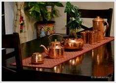 dining table styling with copper