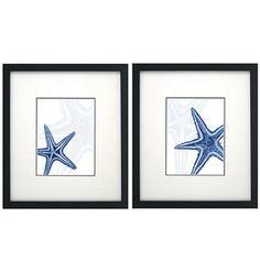 Blue Starfish Wall Decor, Set of 2