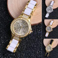 Fashion Women Geneva Crystal Stainless Steel Bracelet Leather Quartz Wrist Watch #Unbranded #Casual
