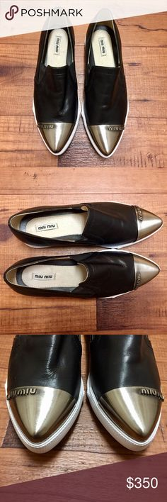 Miu Miu leather cap-toe flats Gorgeous Miu Miu leather cap-toe flats. Soft brushed metal toe cap with butter soft black leather upper. Worn once. Reasonable offers welcome! Miu Miu Shoes Flats & Loafers