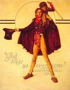 Tiny Tim and Bob Cratchit   Artist: Norman Rockwell Completion Date: 1934