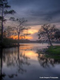 Sunset on the Tchefuncte River — at Fairview Riverside State Park In Madisonville Louisiana.  Dustin Bergene Photography