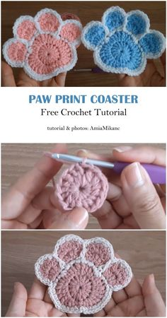 This paw print coaster and doily should have at home for decoration. It is very simple to crochet and very practical. Crochet Home, Crochet Gifts, Cute Crochet, Crochet Motif, Crochet Doilies, Crochet Flowers, Crochet Coaster Pattern Free, Crochet For Dogs, Doilies Crafts