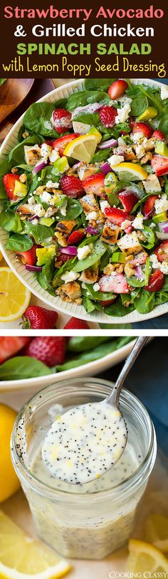 Strawberry Avocado Spinach Salad with Grilled Chicken and Lemon Poppy Seed Dressing - I am in love with this salad! Talk about perfect blend of flavors!!