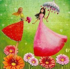 Postkarte 14x14cm ~ Mila Marquis ~ Freundinnen: Amazon.de: Bürobedarf & Schreibwaren