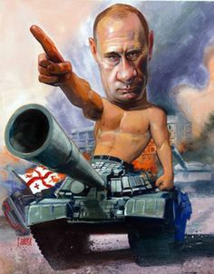 Vladimir Putin caricature, illustration of Fred Harper