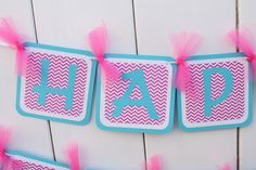 Pink and Blue Chevron Banner by DivineDesignsHB on Etsy, $24.50