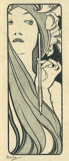 Alphonse Mucha et son oeuvre. Texte par MM. Leon Deschamps, Y. Rambosson, Sainte-Claire, Charles Saunier .., etc. Paris, Societe anonyme 'La Plume' 1897.