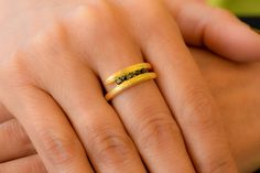 Textured double ring - Minimalist ring - Double ring - 925 Sterling Silver -  Minimalist jewelry -Black Cubic Zirconia by loiloicreations on Etsy