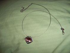 Lia Sophia Mauve crystal pendant Wire Necklace #liasophia #Pendant