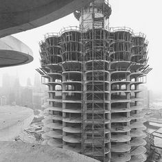 In honor of Bertrand Goldberg's 100th birthday today, here is a picture of Marina City under construction.    (Photographer: Richard Nickel)