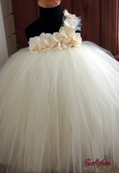 Ivory pearl tutu dress flower girl dress tutu dress by Gurliglam, $92.00