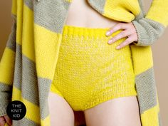 Makes rainy days a lot brighter!  knitted shorts panties transparent bulky mohair wool yellow from theknitkid via Etsy.