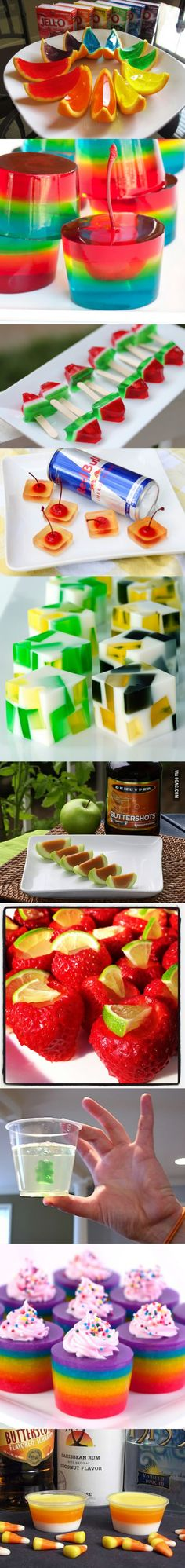 10 different ways to do jello shots, this is amazing. Oh boy Melissa, a jello shot for every occasion! Snacks Für Party, Party Drinks, Cocktail Drinks, Fun Drinks, Yummy Drinks, Yummy Food, Holiday Cocktails, Party Favors, Jello Shots