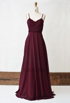 Burgundy Bridesmaid Dress, Lace Long Prom Dress, Spaghetti Strap Chiffon A-Line Bridal Party Dress, Wine Floor Length Maxi Dresses For Women - Vestidos - Wedding Dresses Burgundy Bridesmaid Dresses Long, Bridesmaid Dresses Plus Size, Prom Dresses, Bridesmaid Gowns, Long Dresses, Junior Party Dresses, Bridal Party Dresses, Wedding Gowns, Bridal Parties