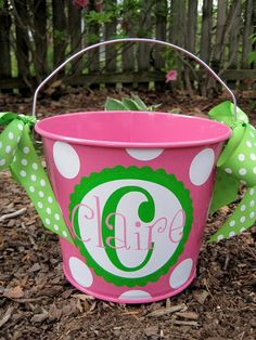 Personalized Easter Bucket assorted colors5 QT by twosisters76, $22.00 Easter Buckets, Vinyl Monogram, Spring Crafts, Holiday Crafts, Happy Easter, Easter Bunny, Silhouette Projects, Silhouette Cameo, Easter Crafts