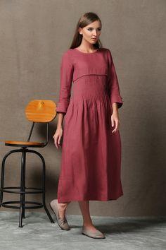 Maxi Linen Dress Raspberry Red Long Sleeved por YL1dress en Etsy