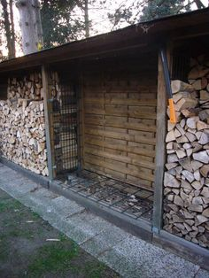 Holzmiete Image Setting A Bedtime Ritual Article Body: Any casual glance at child rearing guides wil Outdoor Firewood Rack, Firewood Shed, Firewood Storage, Shed Design, Garden Design, Pergola, Seasoned Wood, Wood Store, Garden Tool Storage