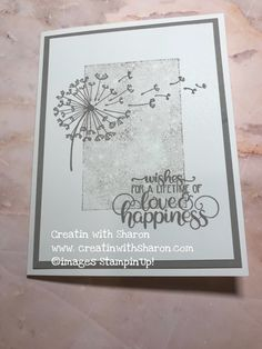 Dandelion Wishes. This has to be one of my favourite set from the new catalogue.  This was such an easy card to make. Details  www.creatinwithsharon.com