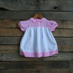 Vintage Children's Pink & White Gingham Dress  Size 24 by vintapod