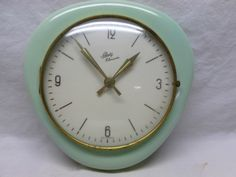 Vintage Retro 50 S 60 S Lime Green Ceramic Wall Clock