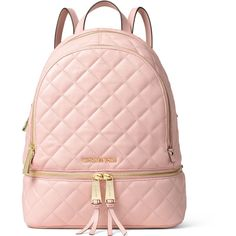 MICHAEL Michael Kors Rhea Medium Quilted Backpack (6.770 ARS) ❤ liked on Polyvore featuring bags, backpacks, accessories, pink, handbags, blossom, zipper bag, michael michael kors bags, logo bags and pink backpacks