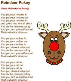Children's Christmas song with printable lyrics - Reindeer Pokey. Childrens Christmas Songs, Christmas Poems, Christmas Program, Christmas Concert, Christmas Music, Kids Christmas, Christmas Songs For Toddlers, Xmas Music, Holiday Program