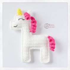 Flat Unicorn Amigurumi Free Crochet Pattern By Elisa's Crochet You are in the right place about crochet toys free patterns Here we offer you the most beautiful pictures about the crochet toys tutorial Crochet Unicorn Pattern Free, Crochet Applique Patterns Free, Crochet Patterns For Beginners, Free Crochet, Amigurumi Patterns, Crochet Wall Hangings, Amigurumi Doll, Crochet Toys, Crochet Projects
