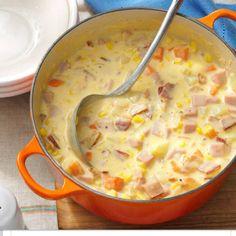 Dutch oven cheesy ham chowder